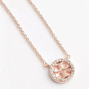 TORY BURCH CRYSTAL CIRCLE LOGO NECKLACE-ROSE GOLD!